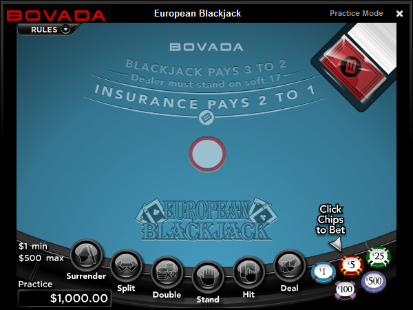 blackjack at bovada